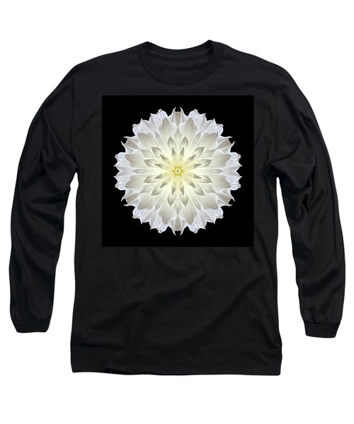 Giant White Dahlia Flower Mandala Long Sleeve T-Shirt