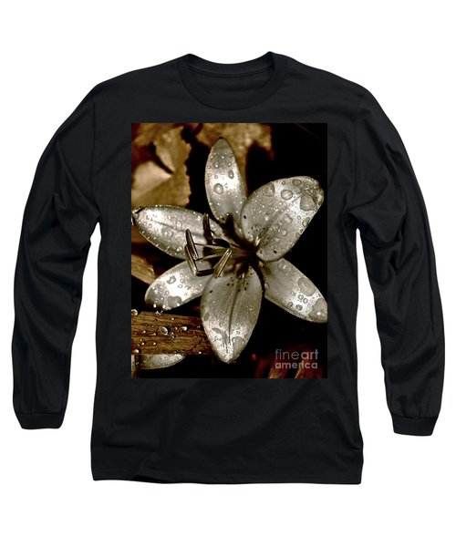 Gilded  Lilies 2 Long Sleeve T-Shirt by Linda Bianic