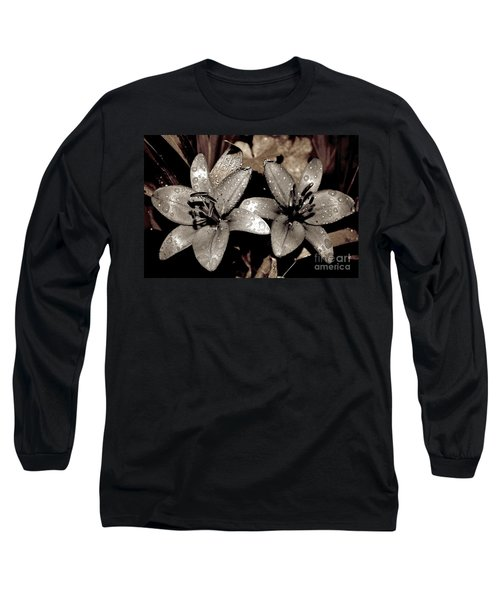Gilded Lilies Long Sleeve T-Shirt by Linda Bianic
