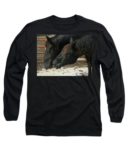 Long Sleeve T-Shirt featuring the photograph Gimme That Apple by Kathy Barney
