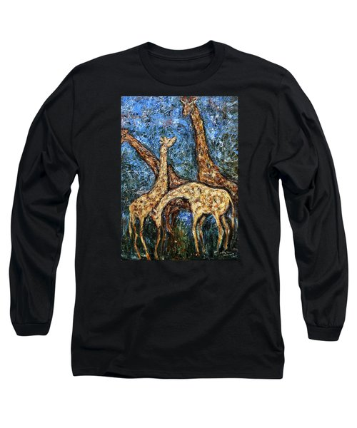 Long Sleeve T-Shirt featuring the painting Giraffe Family by Xueling Zou