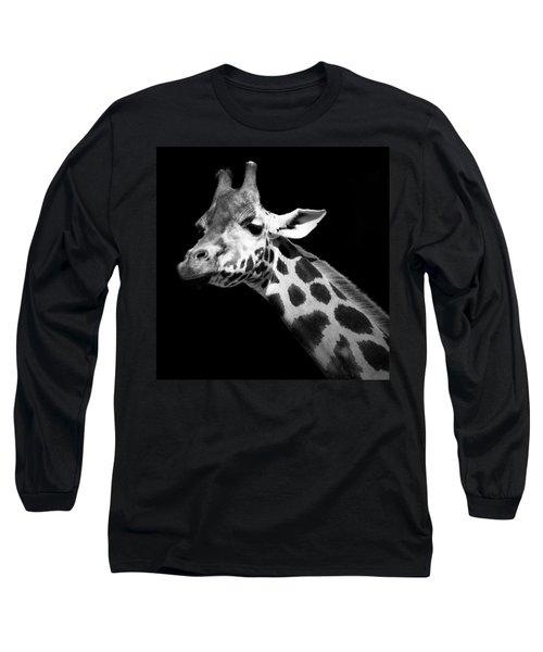 Portrait Of Giraffe In Black And White Long Sleeve T-Shirt