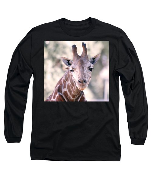 Long Sleeve T-Shirt featuring the pyrography Giraffe Staring  by Shoal Hollingsworth