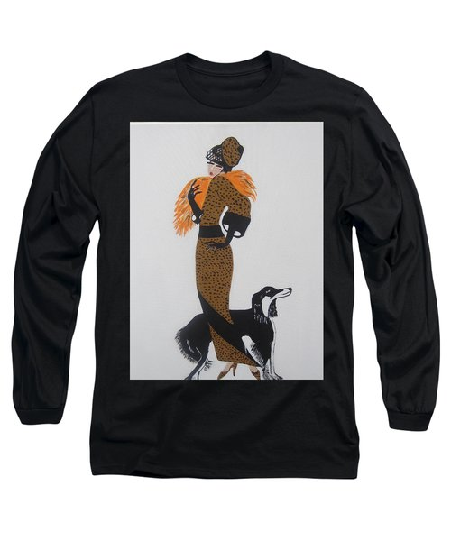 Long Sleeve T-Shirt featuring the painting Girl With Orange Fur by Nora Shepley