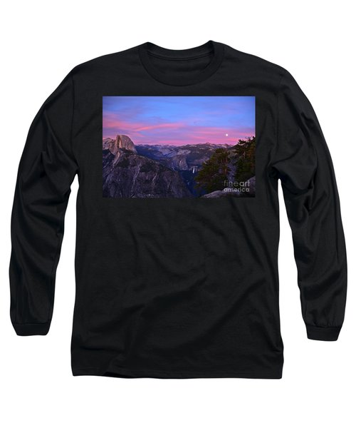 Glacier Point With Sunset And Moonrise Long Sleeve T-Shirt