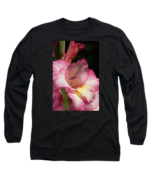 Gladiolus In Pink Long Sleeve T-Shirt by Joy Watson