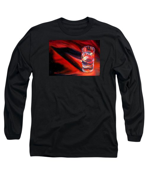 Glass Of Water On Red Long Sleeve T-Shirt