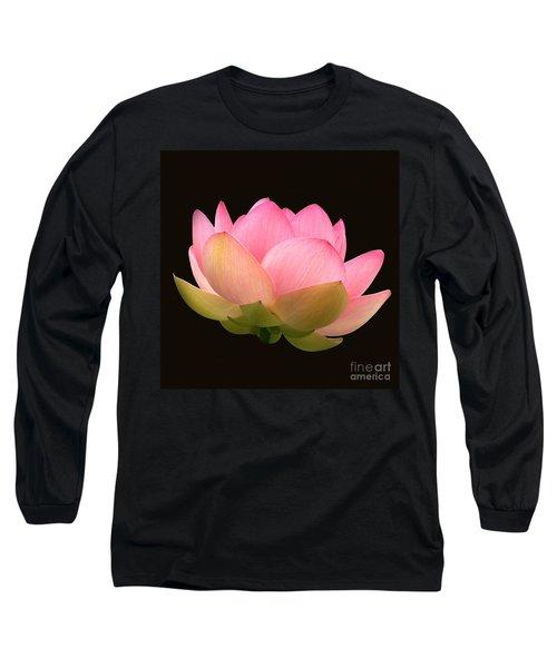 Glowing Lotus Square Frame Long Sleeve T-Shirt by Byron Varvarigos
