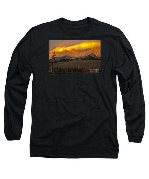 Glowing Sawtooth Mountains Long Sleeve T-Shirt
