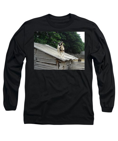 Long Sleeve T-Shirt featuring the photograph Goat On The Roof by Kerri Mortenson