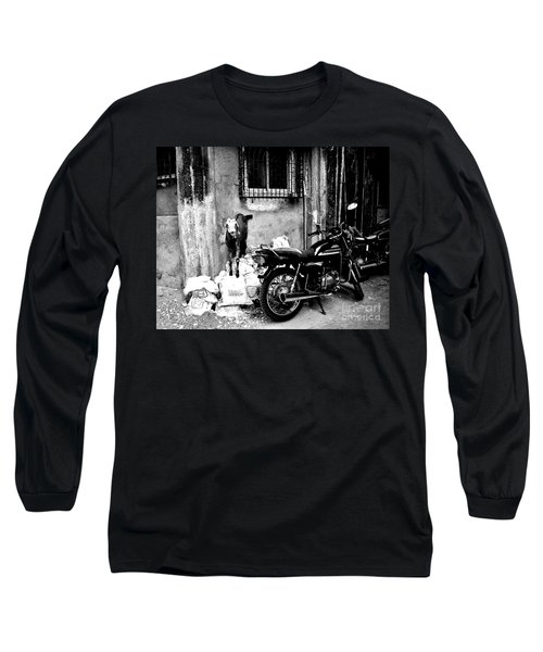 Goatercycle Black And White Long Sleeve T-Shirt
