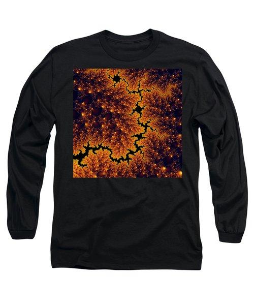 Golden And Black Fractal Universe Long Sleeve T-Shirt