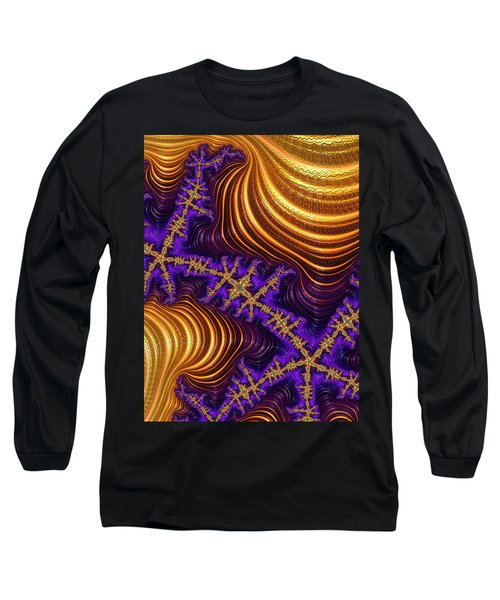 Golden And Purple Fractal River And Mountain Landscape Long Sleeve T-Shirt