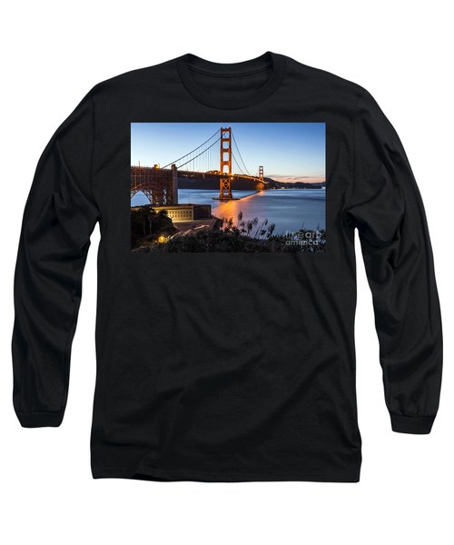 Long Sleeve T-Shirt featuring the photograph Golden Gate Night by Kate Brown