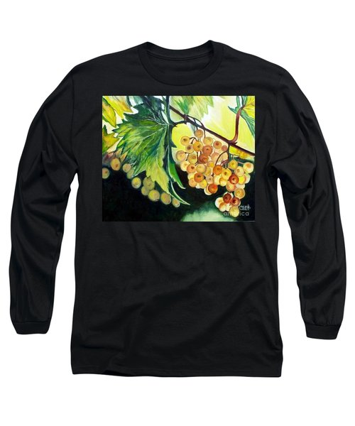 Long Sleeve T-Shirt featuring the painting Golden Grapes by Julie Brugh Riffey