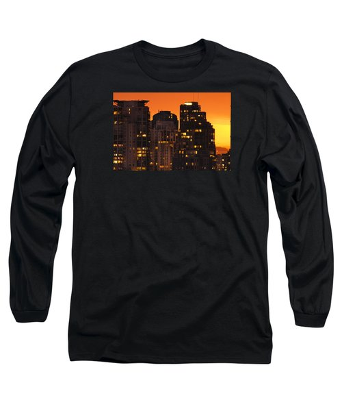 Long Sleeve T-Shirt featuring the photograph Golden Orange Cityscape Dccc by Amyn Nasser