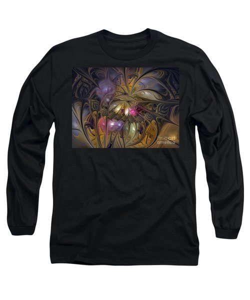 Golden Ornamentations-fractal Design Long Sleeve T-Shirt