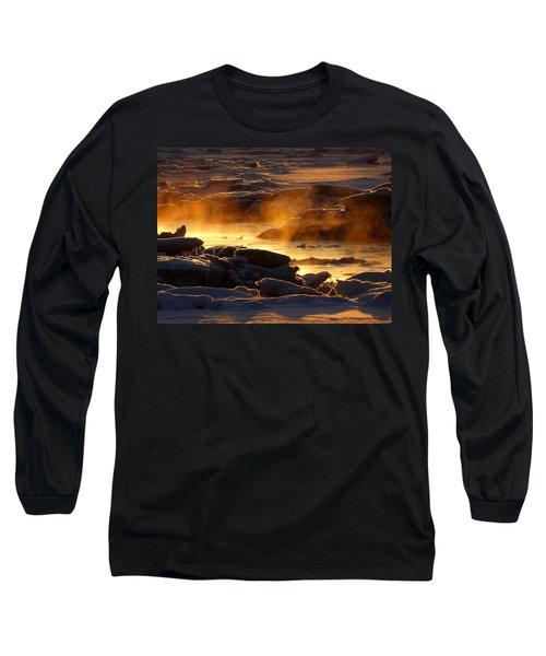Golden Sea Smoke At Sunrise Long Sleeve T-Shirt