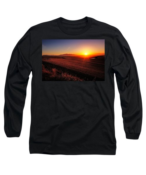 Golden Sunrise Over Farmland Long Sleeve T-Shirt