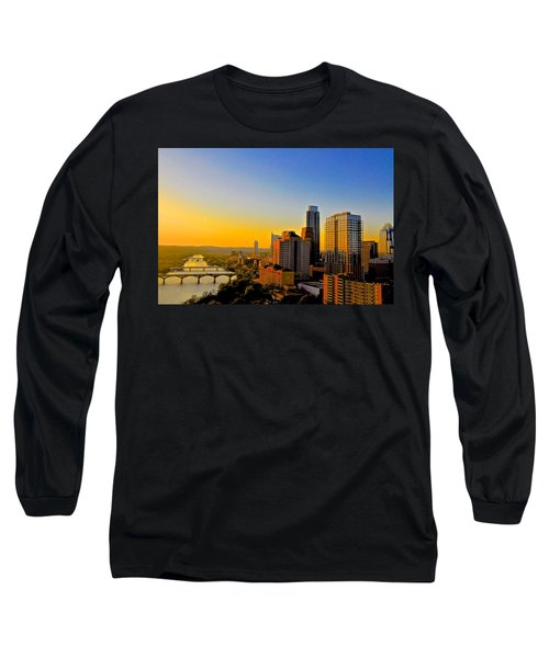 Golden Sunset In Austin Texas Long Sleeve T-Shirt