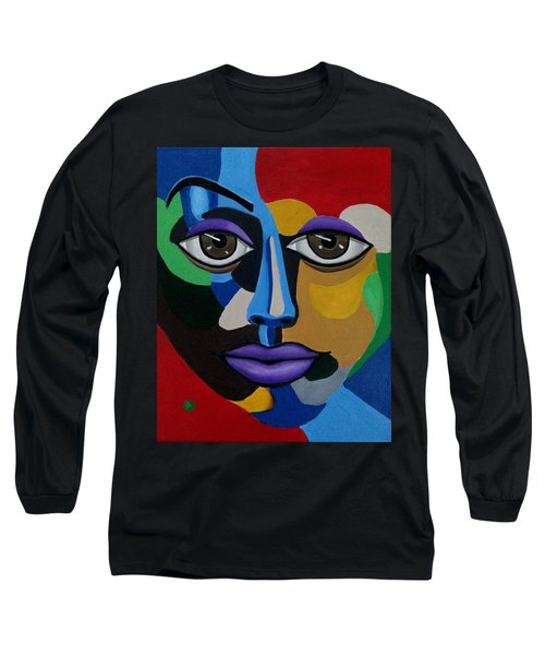 Colorful Abstract Face Art Painting, 3d Illusion, Big Brown Eyes, Purple Lips Long Sleeve T-Shirt