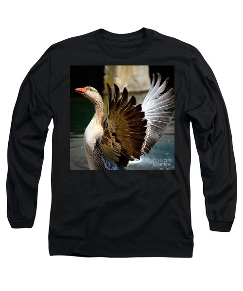 Goose Feathers Long Sleeve T-Shirt by Nava Thompson