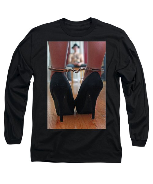 Long Sleeve T-Shirt featuring the pyrography Got Cuffs by Shoal Hollingsworth