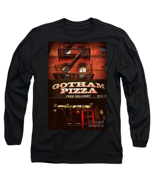 Gotham Pizza Long Sleeve T-Shirt by Miriam Danar