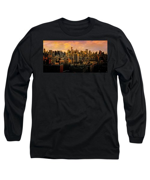 Long Sleeve T-Shirt featuring the photograph Gotham Sunset by Chris Lord