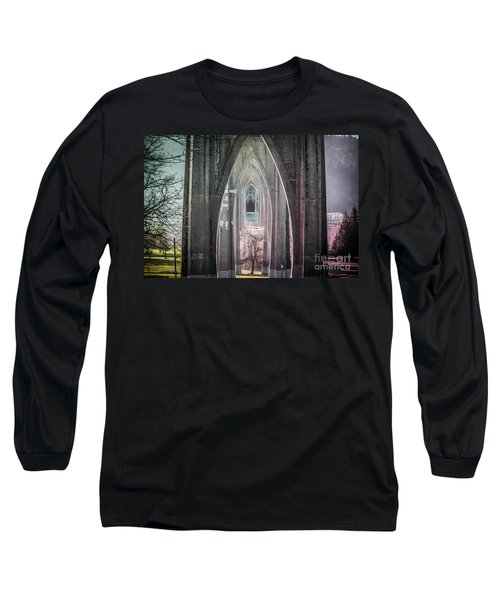 Gothic Arches Hands Folded In Prayer Long Sleeve T-Shirt