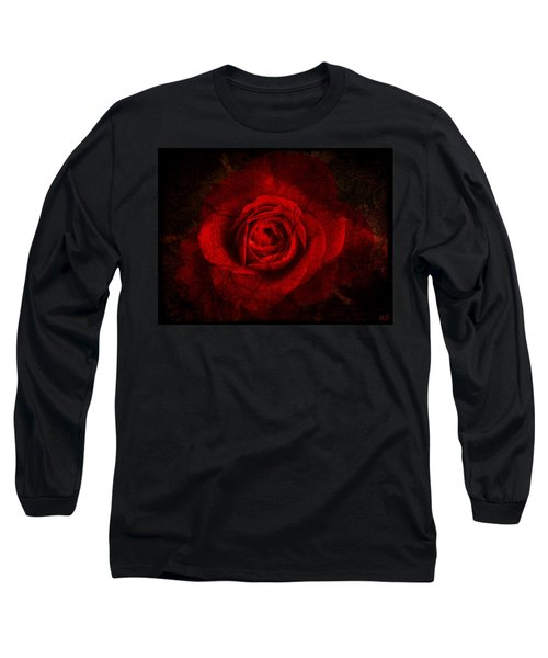 Long Sleeve T-Shirt featuring the digital art Gothic Red Rose by Absinthe Art By Michelle LeAnn Scott