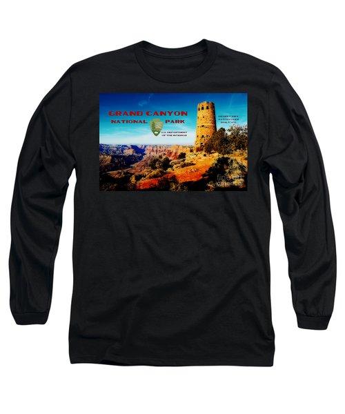 Grand Canyon National Park Poster Desert View Watchtower Retro Future Long Sleeve T-Shirt