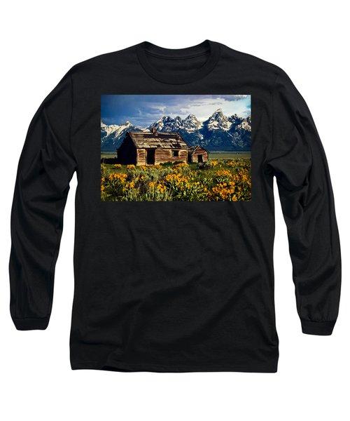 Long Sleeve T-Shirt featuring the photograph Grand Tetons Cabin by John Haldane