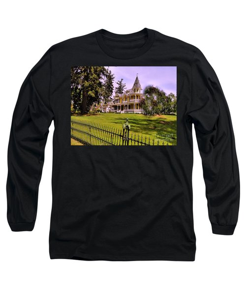 Long Sleeve T-Shirt featuring the photograph Grand Yellow Victorian And Gate by Becky Lupe
