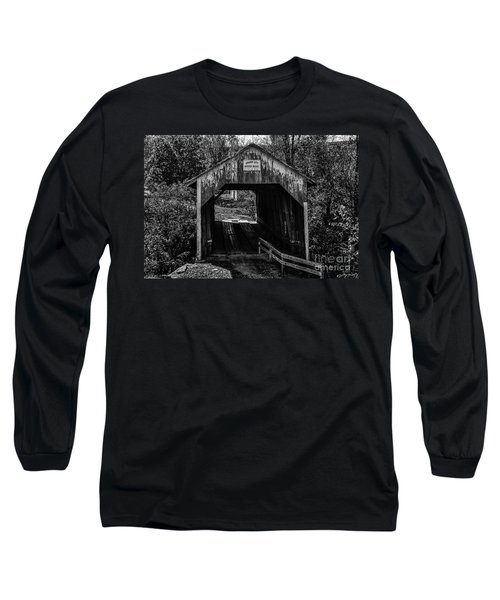 Grange City Covered Bridge - Bw Long Sleeve T-Shirt