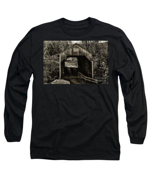 Grange City Covered Bridge - Sepia Long Sleeve T-Shirt