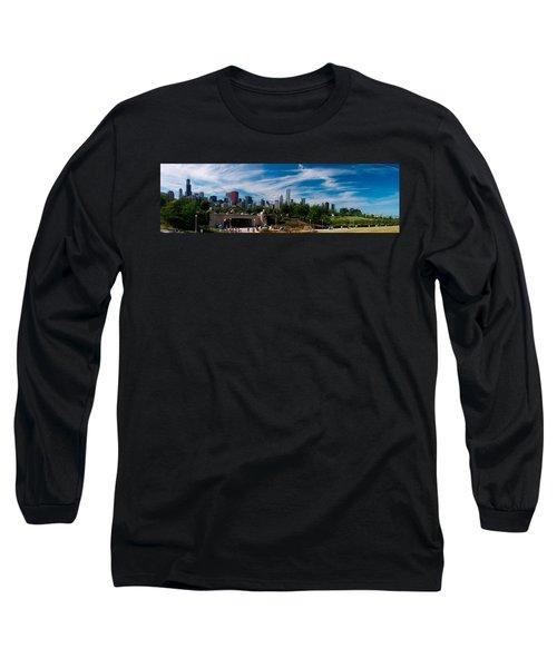 Grant Park Chicago Skyline Panoramic Long Sleeve T-Shirt by Adam Romanowicz