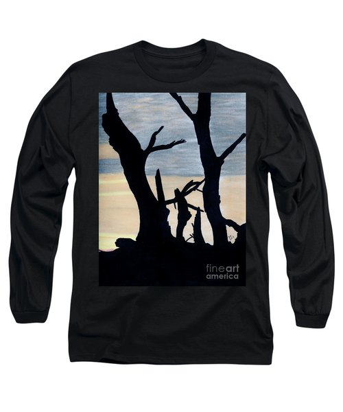 Long Sleeve T-Shirt featuring the drawing Gray Sunset by D Hackett