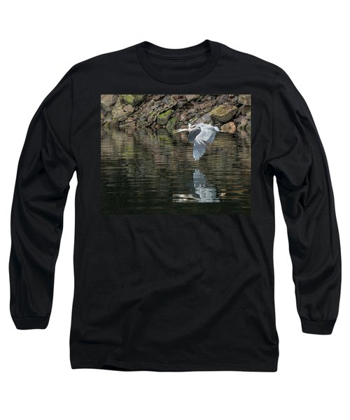 Great Blue Heron Reflections Long Sleeve T-Shirt