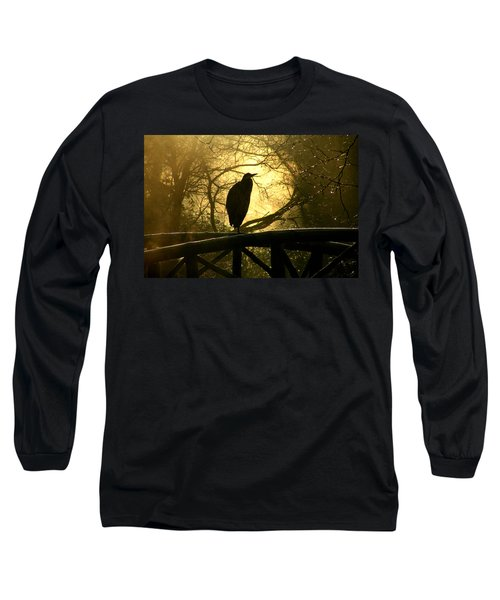 Great Blue Heron Silhouette Long Sleeve T-Shirt by Brian Chase