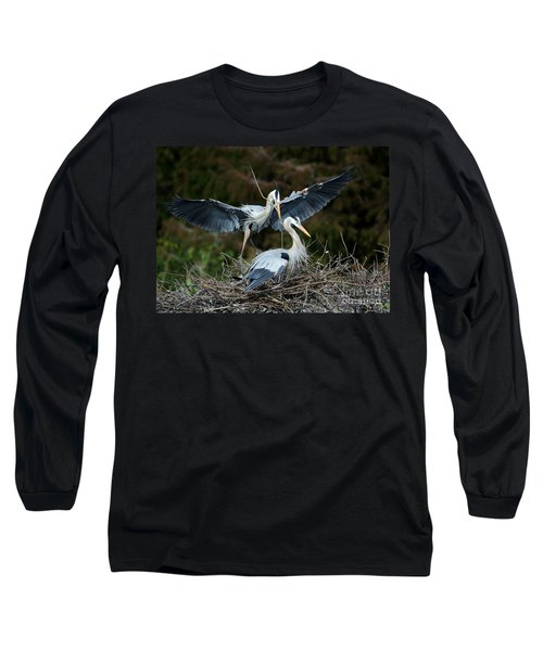 Great Blue Herons Nesting Long Sleeve T-Shirt