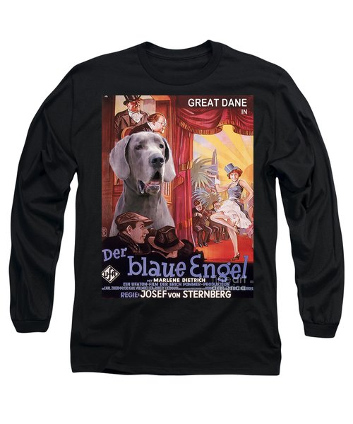 Great Dane Art Canvas Print - Der Blaue Engel Movie Poster Long Sleeve T-Shirt