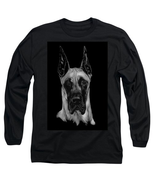 Long Sleeve T-Shirt featuring the drawing Great Dane by Rachel Hames