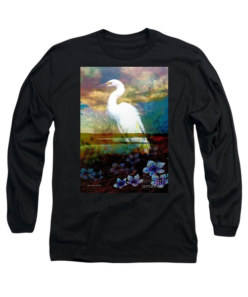 Long Sleeve T-Shirt featuring the photograph Great Egret by Annie Zeno
