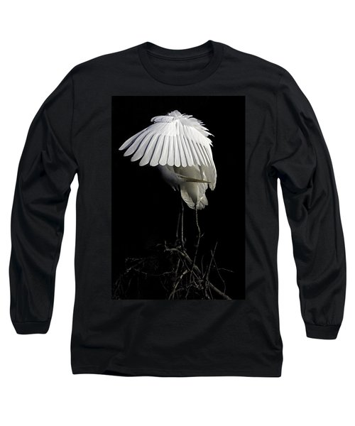 Great Egret Bowing Long Sleeve T-Shirt
