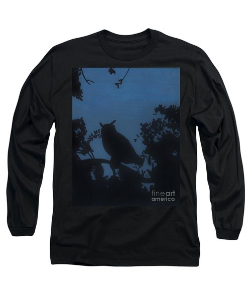Long Sleeve T-Shirt featuring the drawing Owl At Night by D Hackett