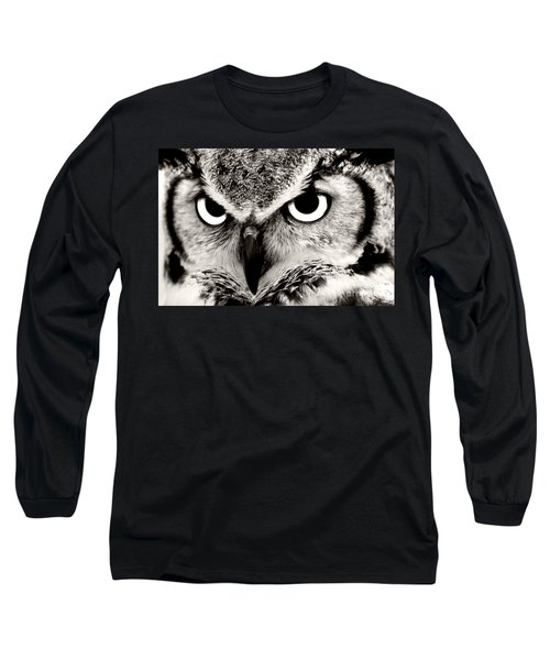 Great Horned Owl In Black And White Long Sleeve T-Shirt
