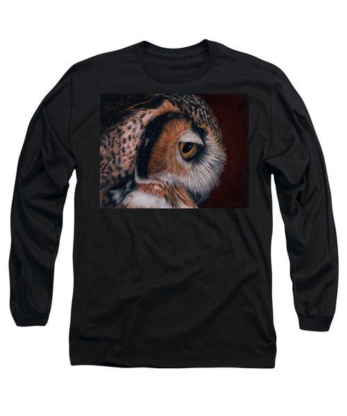 Long Sleeve T-Shirt featuring the painting Great Horned Owl Portrait by Pat Erickson