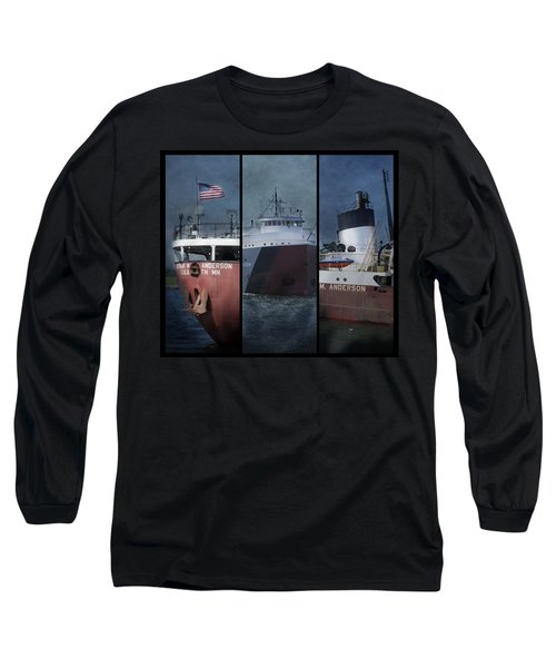 Great Lakes Freighter Triptych Arthur M Anderson Long Sleeve T-Shirt