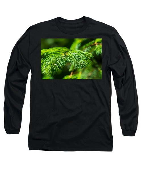 Green Christmas Tree 2 Long Sleeve T-Shirt by Alexander Senin